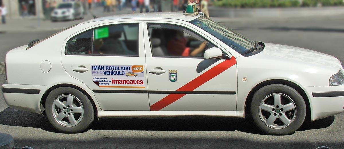 Imán rotulado publicidad taxi